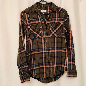 Express metallic plaid flannel boyfriend shirt xxs